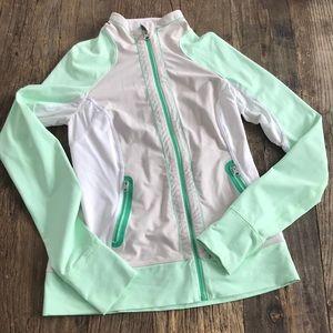 Lululemon 1/4 Zip Mint Green, Gray and White Sz 8